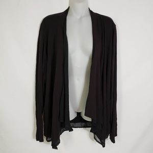 Simply Emma Black Lined Open Front Cardigan 1X